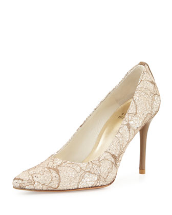 Flirt Lace Glitter Pump, Quartz