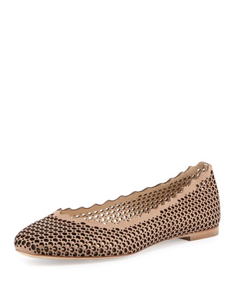 Perforated Leather Ballerina Flat, Beige Rose