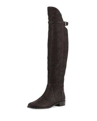 Needaride Snake-Print Over-the-Knee Boot, Black