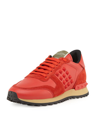 Rockstud Leather Sneaker, Orange