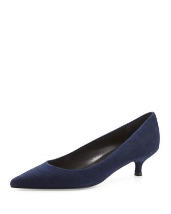 Poco Suede Kitten Heel Pump, Nice Blue