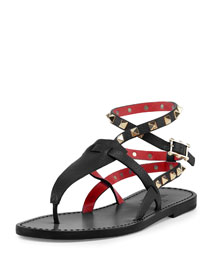 Rockstud Ankle-Wrap Thong Sandal, Nero/Rosso