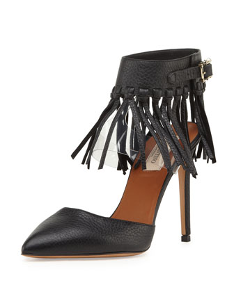 Illusion Fringe Ankle-Wrap Pump, Nero