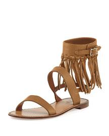 Illusion Fringe Ankle-Wrap Thong Sandal, Light Cuir