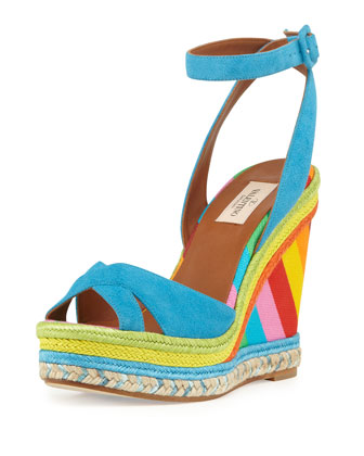 Multicolor Espadrille Wedge Sandal