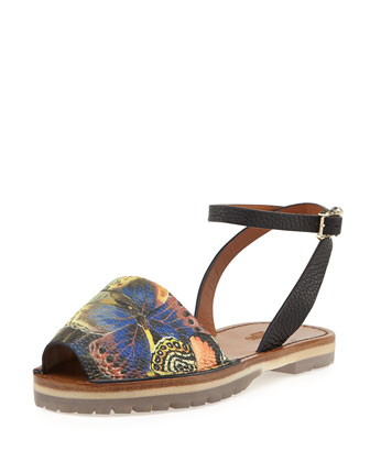 Camouflage Butterfly Ankle-Wrap Sandal