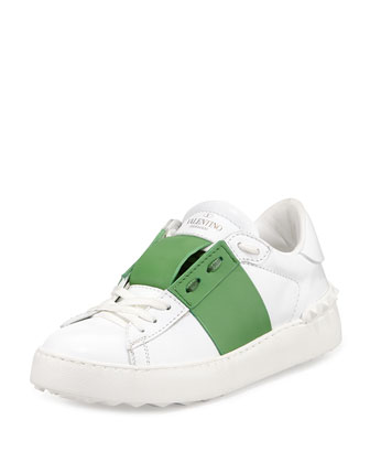Striped Leather Lace-Up Sneaker, Bianco/Green