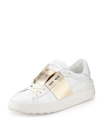 Metallic-Band Leather Sneaker, Bianco/Platinum