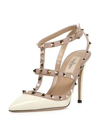 Rockstud Patent Sandal, Light Poudre