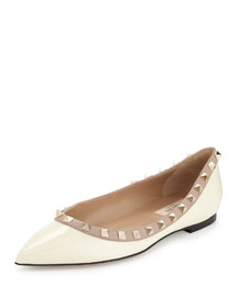 Rockstud Patent Ballerina Flat, Ivory