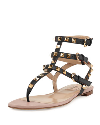 Rockstud Ankle-Wrap Thong Sandal, Nero