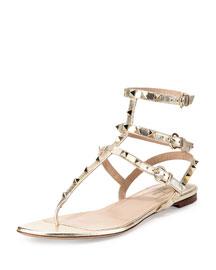 Rockstud Metallic Ankle-Wrap Thong Sandal, Platino