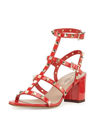 Rockstud Patent Cage Sandal, Deep Orange