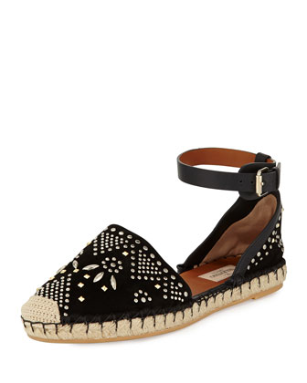 Stud-Embroidered Suede Espadrille, Black