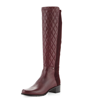 Guard Quilted Leather Knee Boot, Bordeaux (Made to Order)