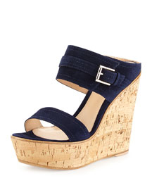 Suede Double-Band Wedge Sandal