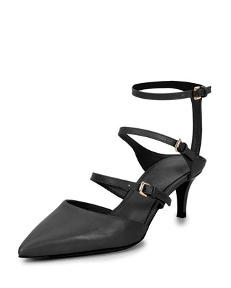 Low-Heel Triple-Strap Ankle-Wrap Pump
