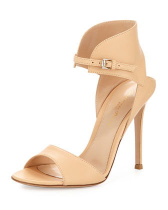 Nappa Leather Ankle-Cuff Sandal, Light Nude