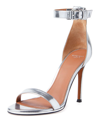 Shark-Lock Ankle-Wrap Sandal, Silver