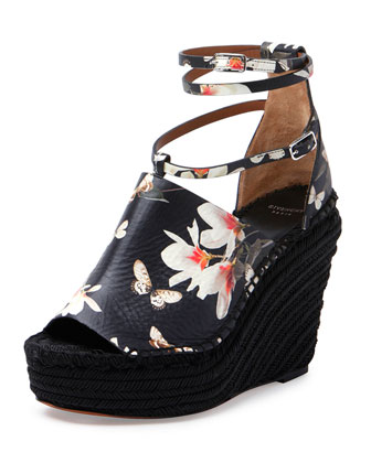 Floral-Print Wedge Sandal, Black