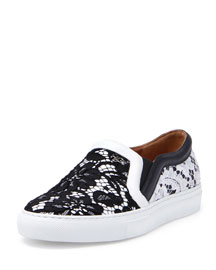 Lace Slip-On Sneaker, Black/White