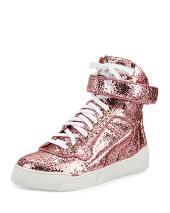 Glitter High-Top Sneaker, Pink