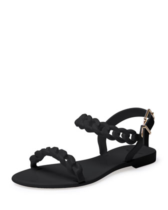 Jelly Chain-Link Flat Sandal, Black