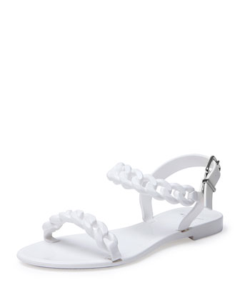 Jelly Chain-Link Flat Sandal, White