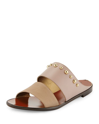 Studded Double-Band Sandal, Beige