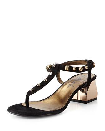 Studded T-Strap Sandal, Black