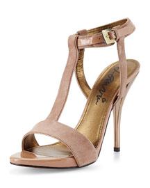 Studded Suede Sandal, Beige