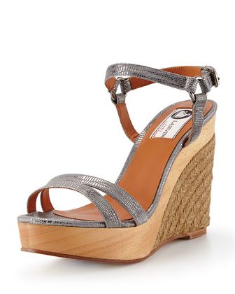 Printed Metallic Espadrille Wedge, Silver
