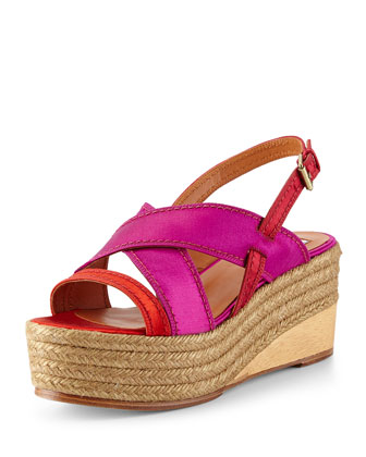 Satin Slingback Espadrille Wedge, Red