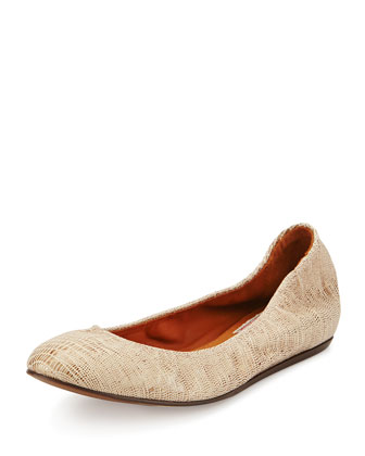 Lizard-Embossed Ballerina Flat, Gold