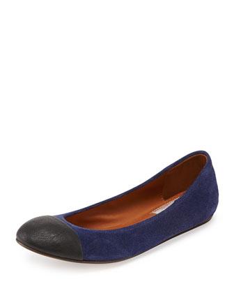 Cap-Toe Suede Ballerina Flat, Blue