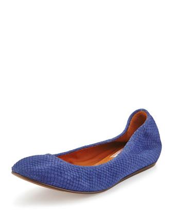 Suede Python-Print Ballerina Flat, Dark Blue