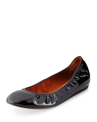 Patent Leather Ballerina Flat, Black