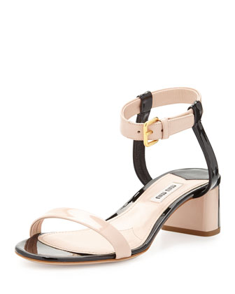 Bicolor Patent Leather Sandal, Nude/Black