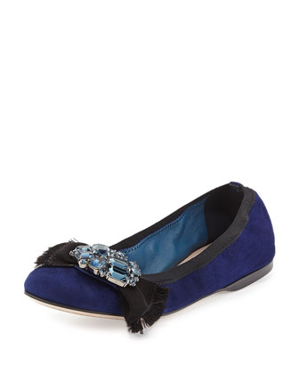 Suede Crystal Bow Ballerina Flat, Navy