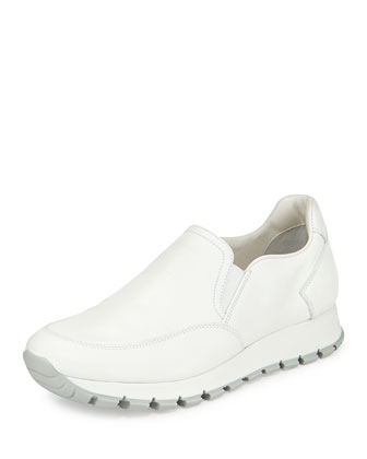 Leather Slip-On Sneaker, Bianco