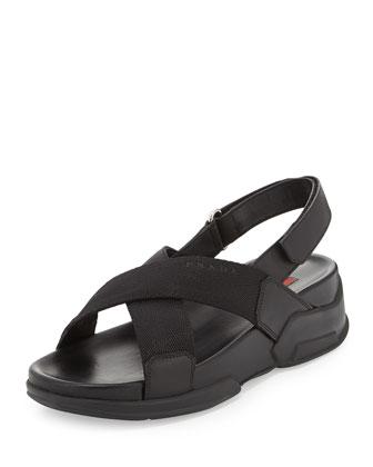 Nylon Crisscross Slingback Sandal, Black