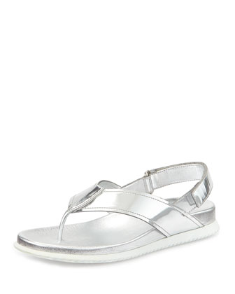Metallic Leather Thong Sandal,