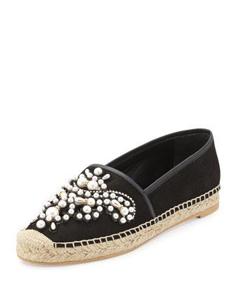 Pearly Bead Espadrille Flat, Black