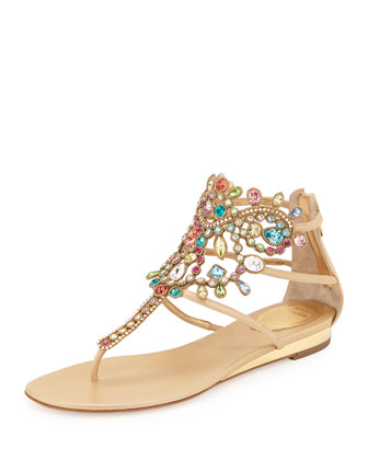 Multicolor Crystal Cage Thong Sandal