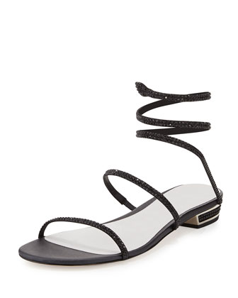Crystal Coil Flat Sandal, Black