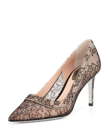 Crystal Lace Point-Toe Pump, Black