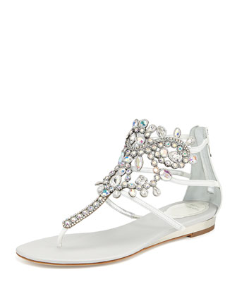 Crystal Chandelier Thong Sandal, White Iridescent