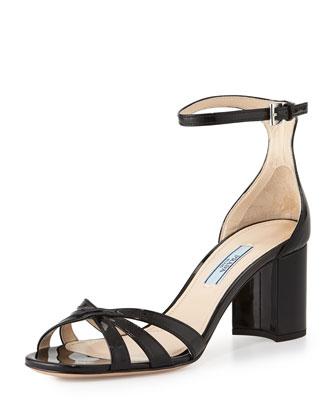 Patent Whisker Sandal, Nero