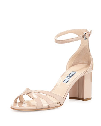 Patent Ankle-Strap Sandal, Travertino