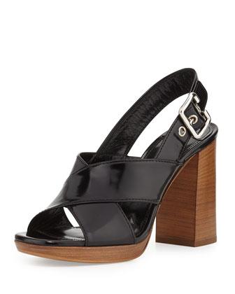 Spazzolato Leather Crisscross Sandal, Nero